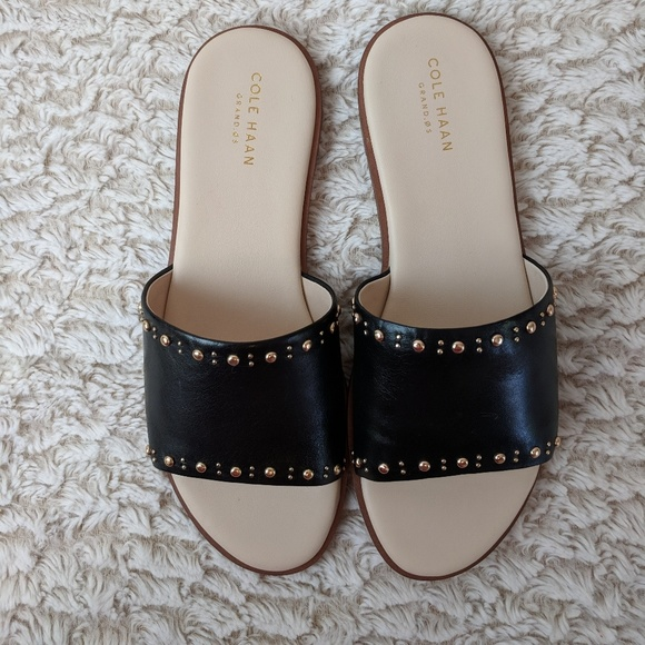 3f559d2b4cd Cole Haan Anica Stud Slide Sandal Black Leather